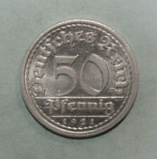 Germany 50 Pfennig 1921-G Brilliant Uncirculated Aluminum Coin