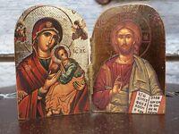 Diptyque bois sculpté Image collée icone ND Perpétuel Secours Christ Pantocrator