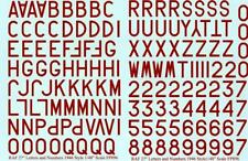 """RAF Letters Numbers 1946 Style Dull Red 27"""" (1/48 decals Fantasy Printshop 896 R"""
