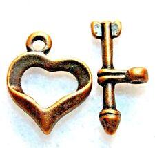 50Sets Wholesale Tibetan Antique Copper Heart & Arrow Toggle Clasps Hooks Q0755