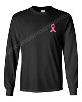 Long Sleeve Men's Pink Ribbon #2 T-Shirt Fight Against Breast Cancer Tee Support