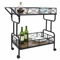 Movable Double Layer Storage Trolley Cart Metal Rack for Bar Kitchen Living Room
