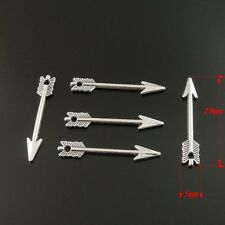 HOT Antiqued Silver Tone Arrow Vintage Charm Alloy Jewelry Pendant 30*5*3mm 10x