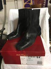 SALVATORE FERRAGAMO Women Nero nappa Calf Leather Boots Size 8 B