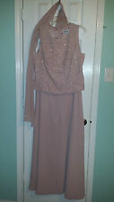 Karen Miller Mauve Romantic Beaded Sleeveless  Evening Gown Dress Size 16 WC057