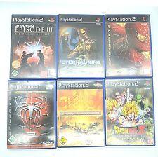 6 X PLAYSTATION 2, Spider man 2+3, STAR WARS 3, Dragon Ball Z, ETERNAL RING, Powerd.