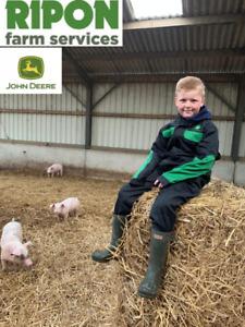 Childrens Kids Genuine John Deere Black Overalls Boilersuit - MCDW1717