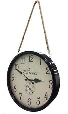 Station Metal Wall Clock Paris with Hanging Rope BLACK 40cm diam Round French