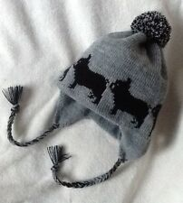FRENCH BULLDOG BLACK dog new knitted lined GREY  ADULT SIZE TRAPPER EAR FLAP HAT