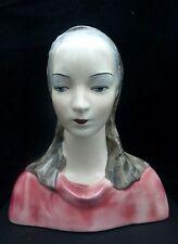 "Goldscheider Woman Head Bust Ceramic ""Gloria"" Lady Figurine 1950's USA"