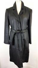 Bespoke Ladies Black Leather Long Maxi Coat  UK 14 Steampunk Goth Rustling