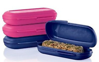 New Tupperware Snack & Granola Bar Keepers Set of 4 in Blue & Pink New