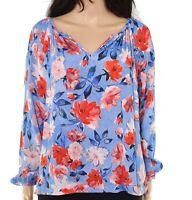 Karen Kane Womens Blouse Blue Size PL Petite V-Neck Floral Print $139 344