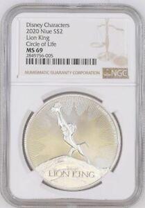 2020 NIUE 1 OZ $2 LION KING - CIRCLE OF LIFE - SIMBA -  NGC MS69 -  SILVER COIN