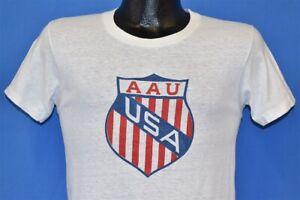 vintage 60s AAU AMATEUR ATHLETIC UNION SHIELD LOGO WHITE COTTON t-shirt SMALL S