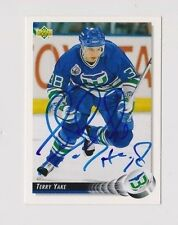 92/93 Upper Deck Terry Yake Hartford Whalers Autographed Hockey Card