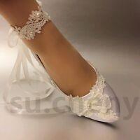 su.cheny white light ivory satin lace flat ballet Bridal Wedding shoes size 5-12