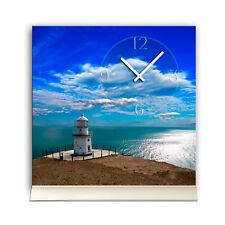 Tischuhr 30cmx30cm inkl. Alu-Ständer- maritimes Design Leuchtturm Meer geräuschl