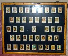 VINTAGE FRAMED SET (41) OF KINGS & QUEENS STAMPS FROM UMM AL QIWAIN ALL FRANKED