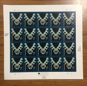 2004 Full Sheet of 20 Navajo Jewelry 2 Cent Stamps UNUSED