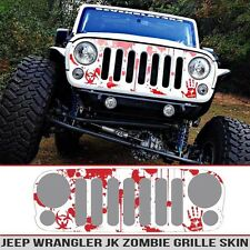 Jeep Grille Skin Zombie Apocalypse splatter decal Clear/Red Fits JK 07-18 DieCut