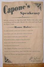 Al Capone's Speakeasy House Rules Poster 11 x 17, bar, gin joint, speak easy