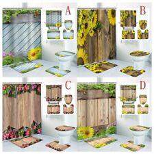 Wooden Door Sunflower Shower Curtain Bath Rugs Toilet Seat Cover Bathroom Sets