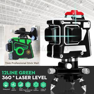 360° 3D 12 Line Green/Blue Laser Level Self Leveling Horizontal+Vertical   /m