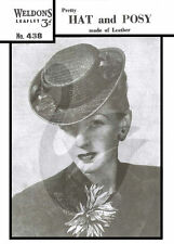 1940's Reproduction Vintage Ladies Leather Hat & Posy Sewing Pattern W438