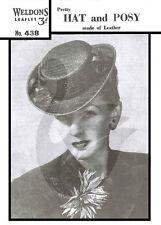 Anni 1940 riproduzione Vintage Donna Cappello Di Pelle & Posy Sewing Pattern w438