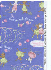 "Angelina Ballerina Best Friends Forever Blue Cotton Flannel Fabric 41""W  BTY"