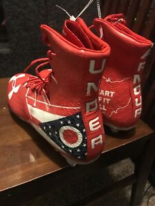 New Under Armour 1275479-611 Red White Blue Football Cleats ClutchFit Size 15 US