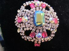 Bijoux MG Brooch- Gorgeous and Large Czech Glass Pin! Great Statement Maker!