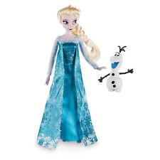 "Disney Store Authentic Frozen Queen Elsa Poseable Doll Figure 12"" w/ Olaf NIB"