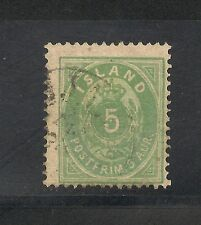 Iceland #16 Fine Used - 1882 5a Green - SCV $14.00