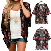 Women Kimono Loose Half Sleeve Chiffon Floral Print Shawl Cardigan Cover Fit Top