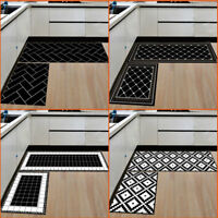 Decorative Kitchen Floor Mat Non Slip Runner Anti Fatigue 2 Piece Rug Set Door