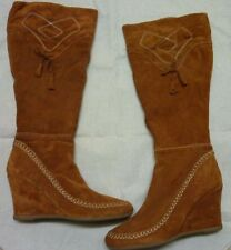 Next Tan Brown Suede Leather Knee High Zip Wedge Tassel Heel Boots UK 7 Eu 41
