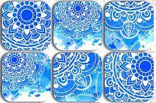 MANDALA BLUE & WHITE COASTERS x 6 NON SLIP NON FADE