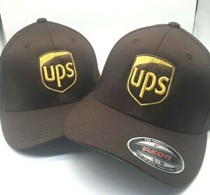 UPSHAT Truck Embroidered Brown Fitted Flexfit Cap Front & Back