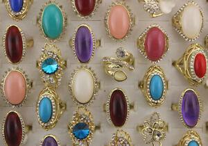 Job Lots 42pcs Gold P Jewelry Clear Full Rhinestone Resin Ring Women Party Rings