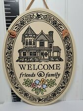 """OVAL POTTERY """"WELCOME FRIENDS & FAMILY"""" SIGN 7"""", TRINITY POTTERY, SPOONER, WI"""