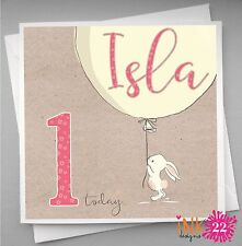 Personalised Birthday Card Bunny Balloon Girl 1st 2nd 3rd Daughter