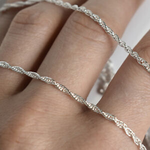 Mens 925 Sterling Silver Twisted Rope Chain Necklace 1.8mm thick Prince of Wales