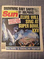 Sun Magazine 1/29/1991 Elvis Sings at Super Bowl! Jimmy Hoffa, Dolphins, Voodoo