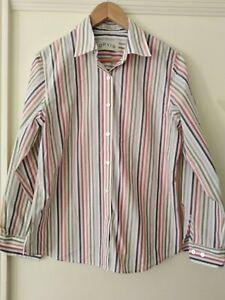 Ladies Striped ORVIS Carefree Shirt / Blouse Long Sleeved UK Size 10/12