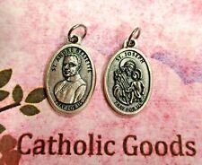 "St. Saint Andre Bessette  + St. Joseph - Oxi Italian Silver Tone 1"" Medal"