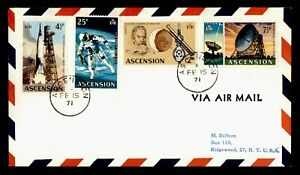 DR WHO 1971 ASCENSION AIRMAIL TO USA SPACE COMBO  g20372