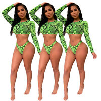 Women long sleeves snakeskin print summer beach swimwear bathing suit 2pc