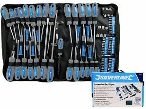 Silverline 100PC Screwdriver Set Tool Bit Kit Philips Flat Head Torx Pozi Offset